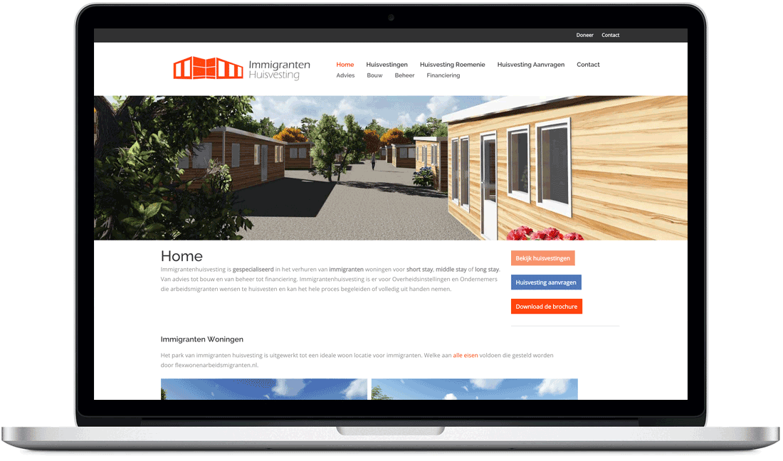 Responsive website Immigranten Huisvesting
